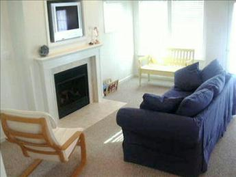 Living area with built in tv