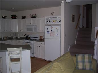 kitchen and stairs to bedrooms
