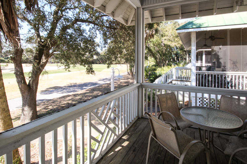 Screened in back porch with golf view