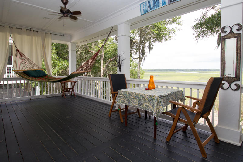 Second floor back porch with marsh view