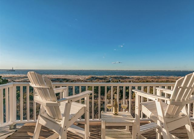 Ocean views from the porch of this 5 bedroom Bald Head Island vacation home