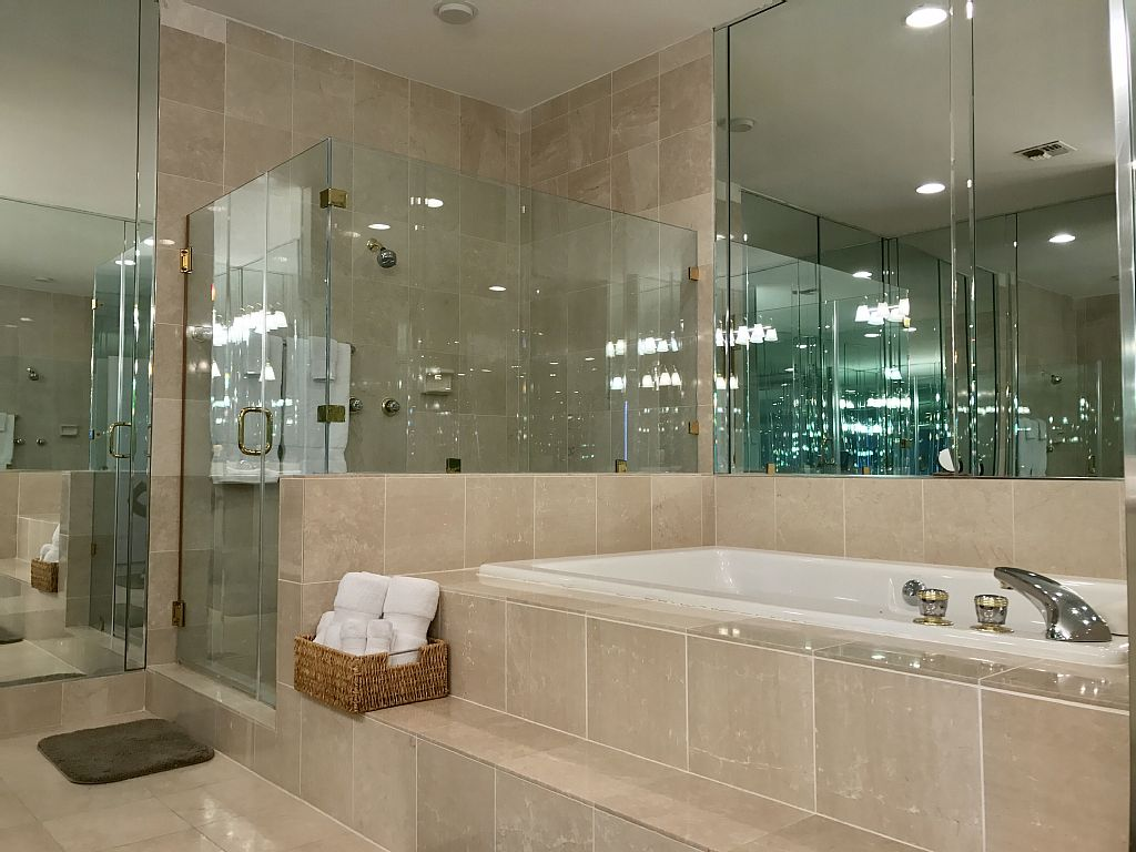 Master bath with huge jetted tub and large shower.