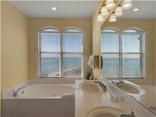 Master Bathroom with Gulf view from jacuzzi tub
