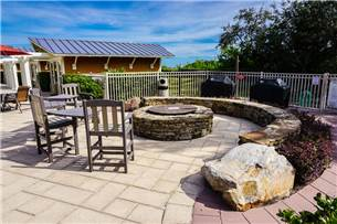 Complex fire pit and grilling area