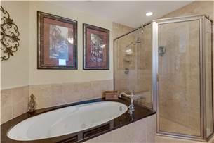 Master bathroom with jacuzzi tub and walk in shower