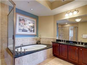Master bathroom with jacuzzi tub, walk in shower and double vanity