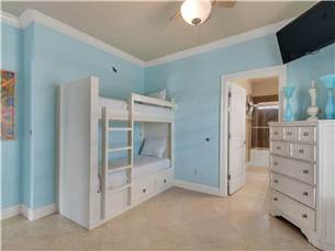 Guest Bedroom #2 on 3rd Floor with 2 Built in Bunks and Flat Screen TV