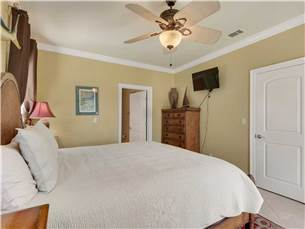 Master Bedroom on Main Floor with King Bed and Flat Screen TV