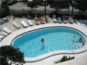 Balcony view of complex pool area