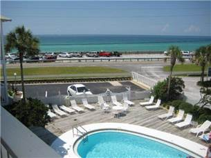 Gulf View condo rental with pool and steps to the beach