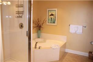 Master bath with jacuzzi tub and walk in shower