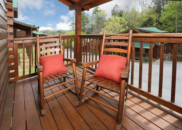 Deck with rocking chairs..