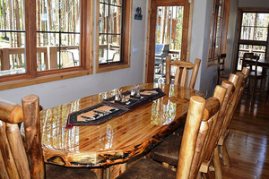 Dining table that will seat 10 guests.