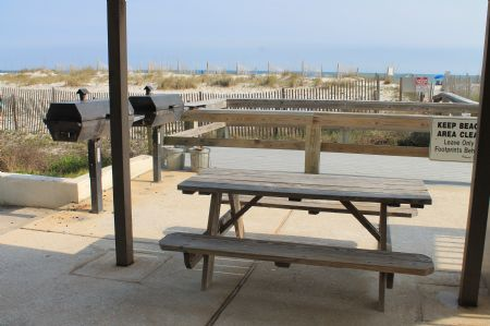 Shaded Community BBQ Area & Multiple Picnic Tables