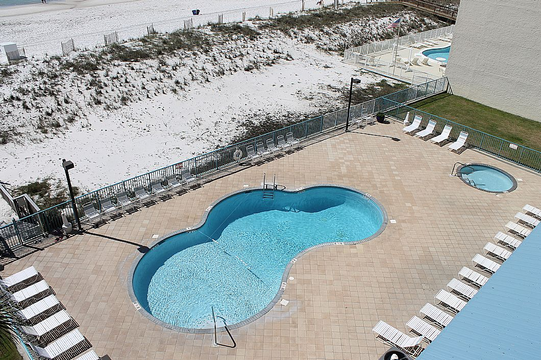 View of the pools from balcony