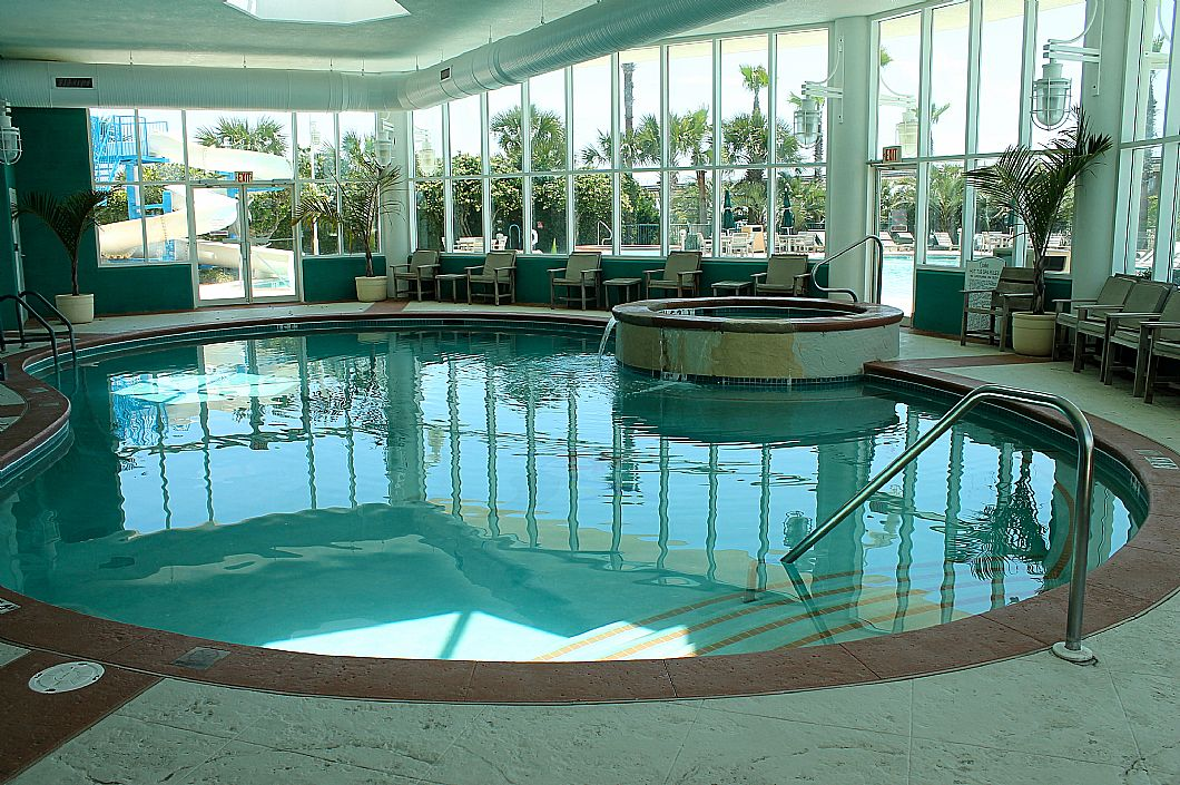 One of many indoor heated pools & hot tubs