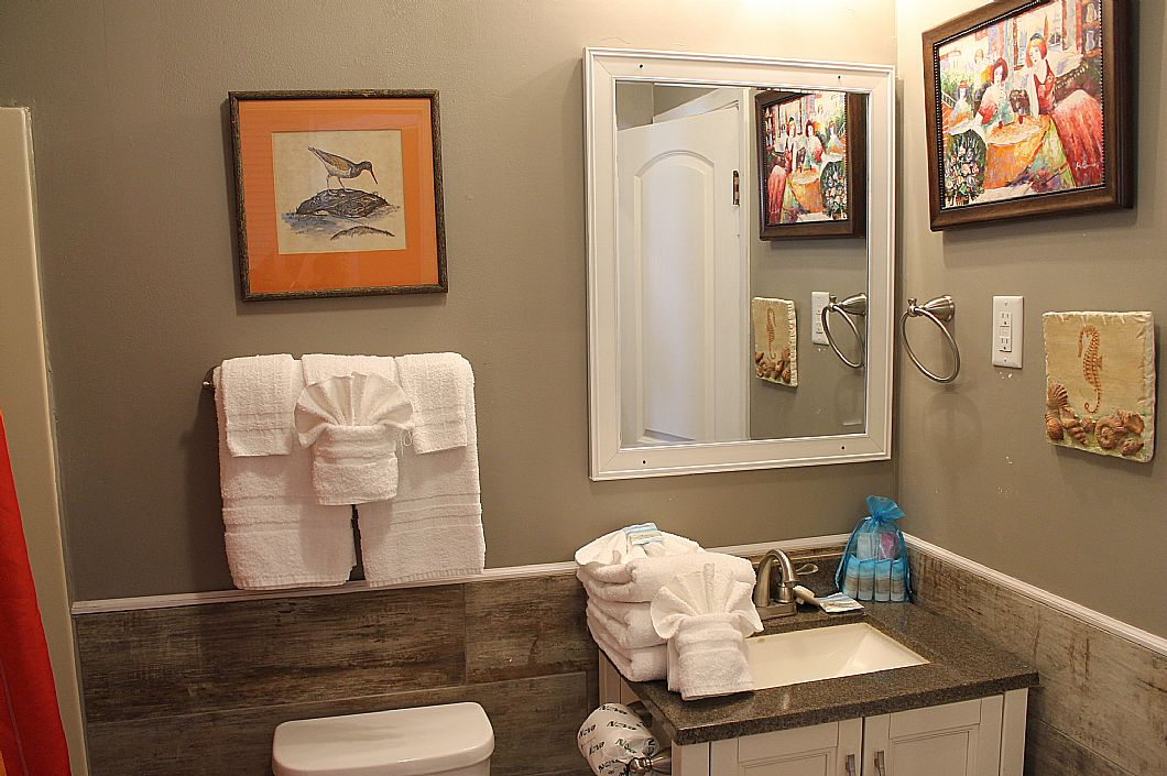 Downstairs hallway bath with shower/tub combo