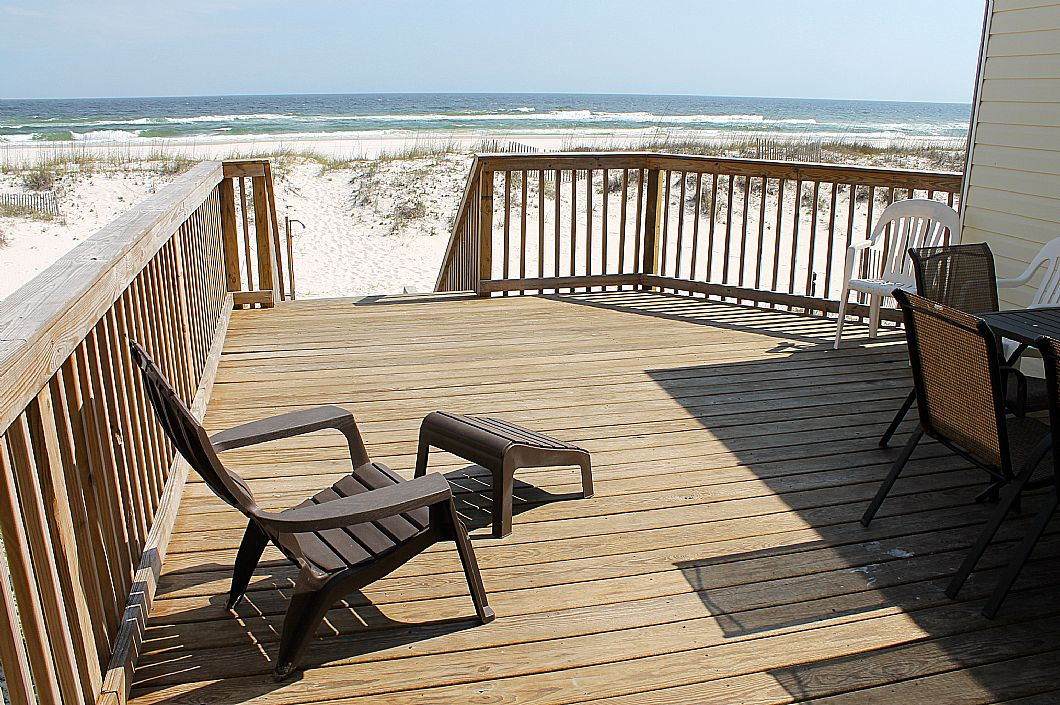 Large private deck off living room