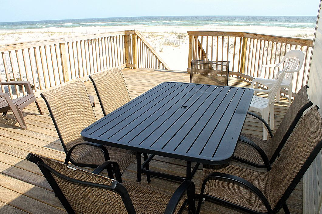 Plenty of seating on the private deck