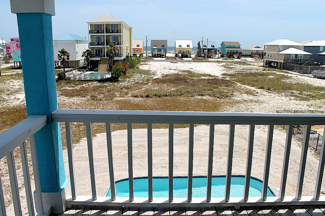 Balcony views of pool & peek-a-boo of Gulf