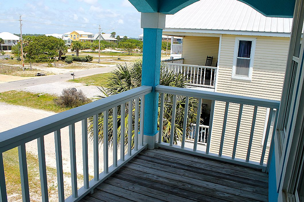 Private north-facing balcony off upstairs queen