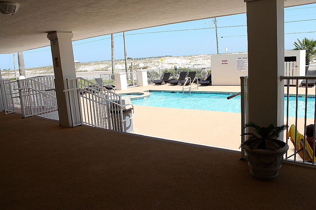 Shaded patio by pool area