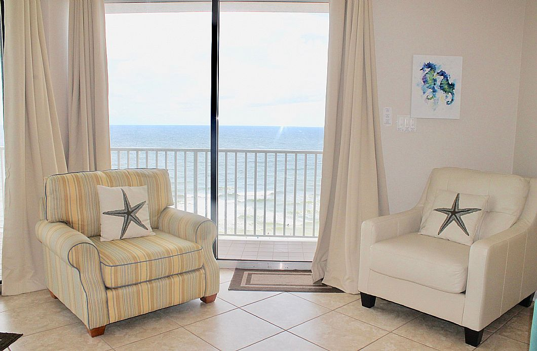Comfy seating chairs next to Gulf balcony access