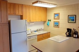 Kitchen with all modern appliances, maple cabinets, large peninsula countertop, smooth-top stove and range, dishwasher and microwave.