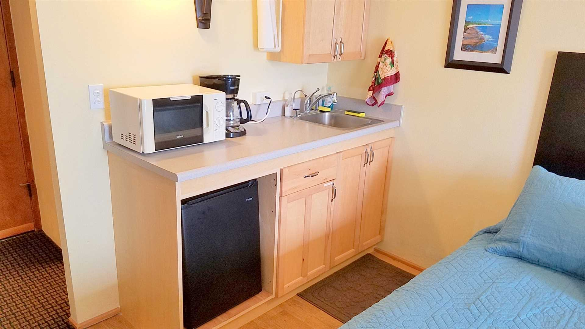 The full kitchenette includes a microwave, small refrigerator, water filter, coffee maker, hot plate (in the cabinet), toaster and all utensils.  There is also an iron and ironing board in the closet.