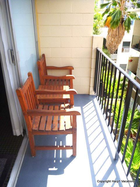 The lanai has plenty of space, with afternoon sun.
