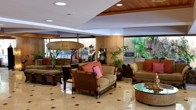 The lobby is elegant, spacious and inviting with a tropical flair. There are internet terminals and printers in the lobby if needed.  (There is Free Internet access in the room).