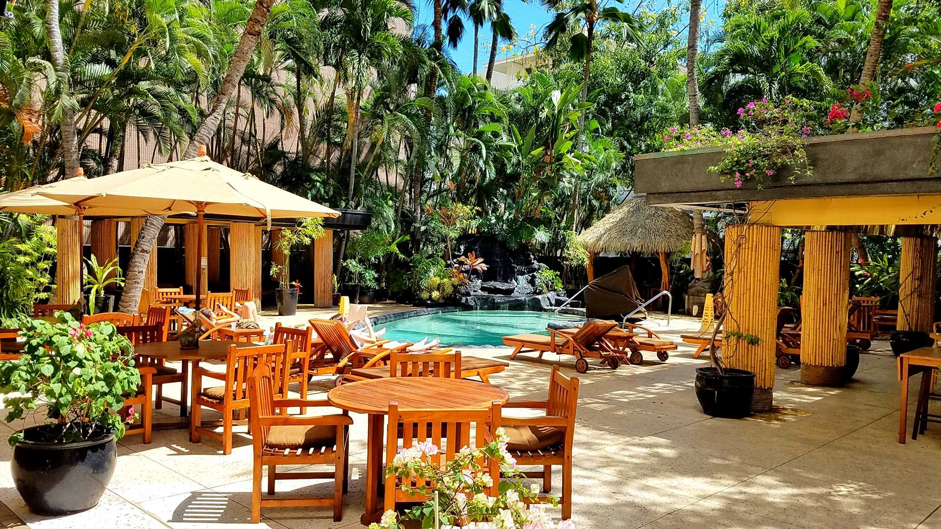 The pool area provides a friendly atmosphere for socializing and relaxing.