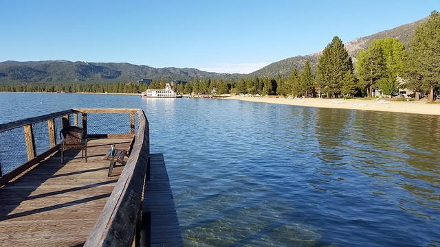 Looking East from the pier.  Just a short walk down the beach to the Tahoe Queen ferry boat and restaurants