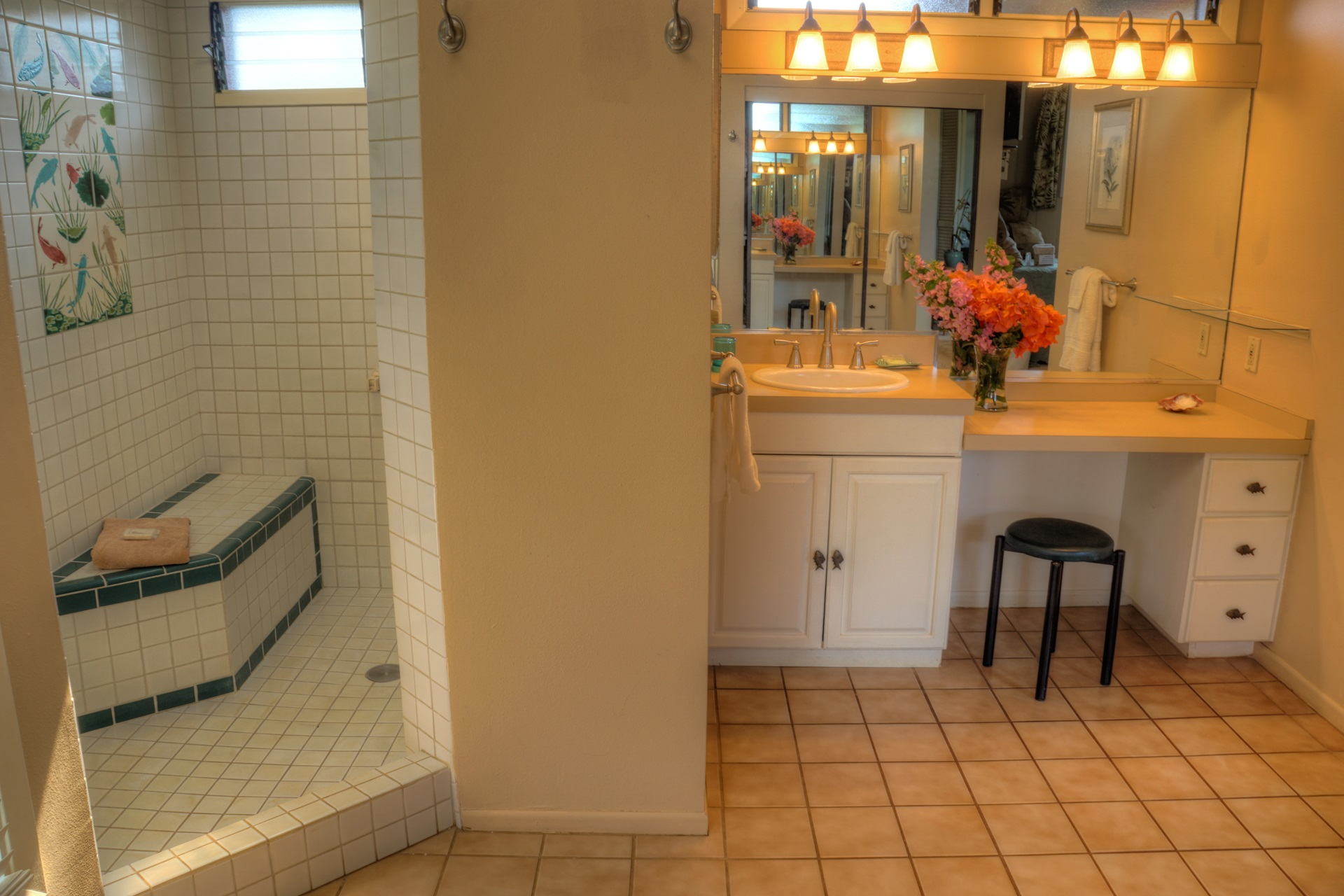 Spacious lower level master bath with dual vainities