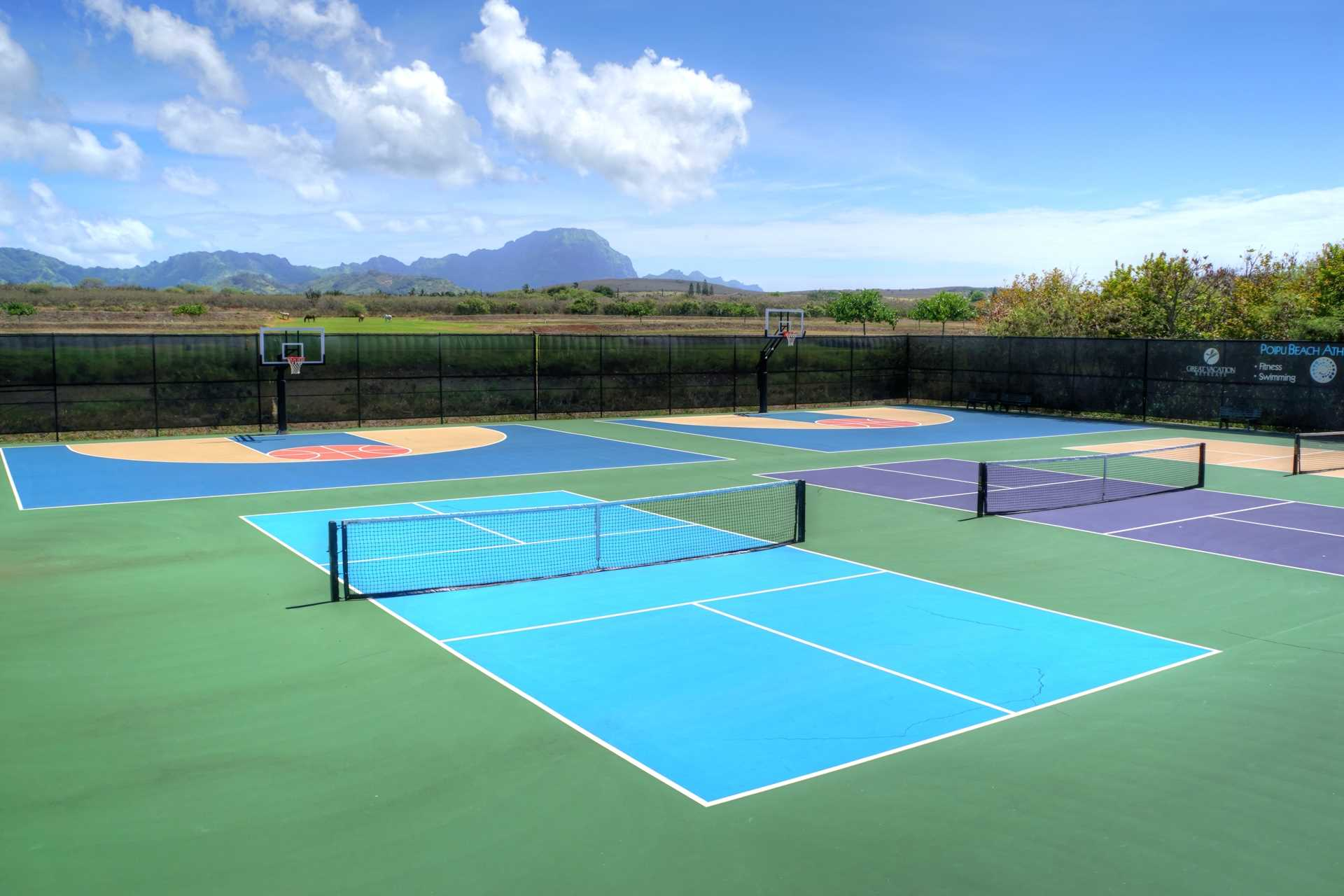 Tennis, pickleball, basketball, shuffleboard at Poipu Club, included with reservation