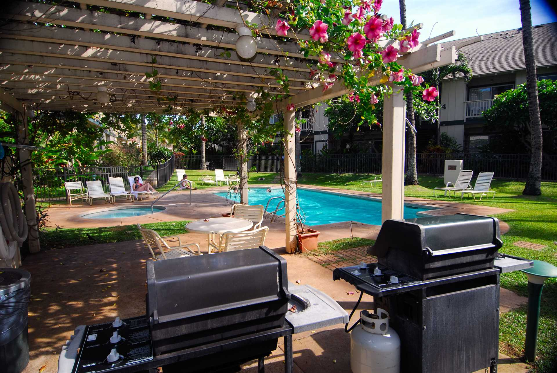 BBQ area at poolside