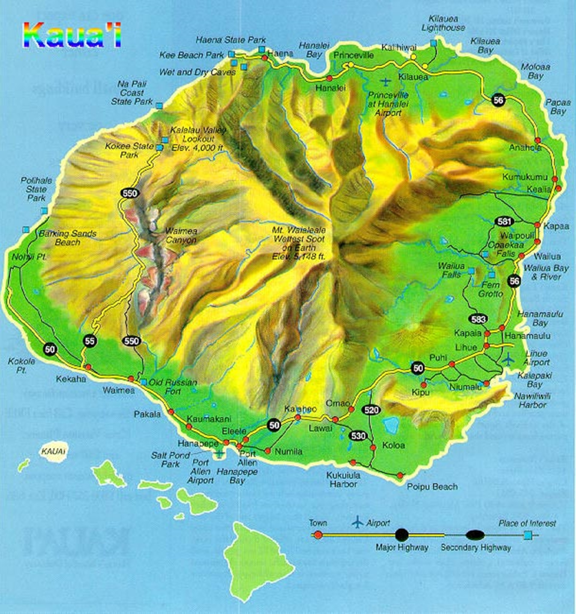 Map of Kauai, Poipu is at the bottom of the map