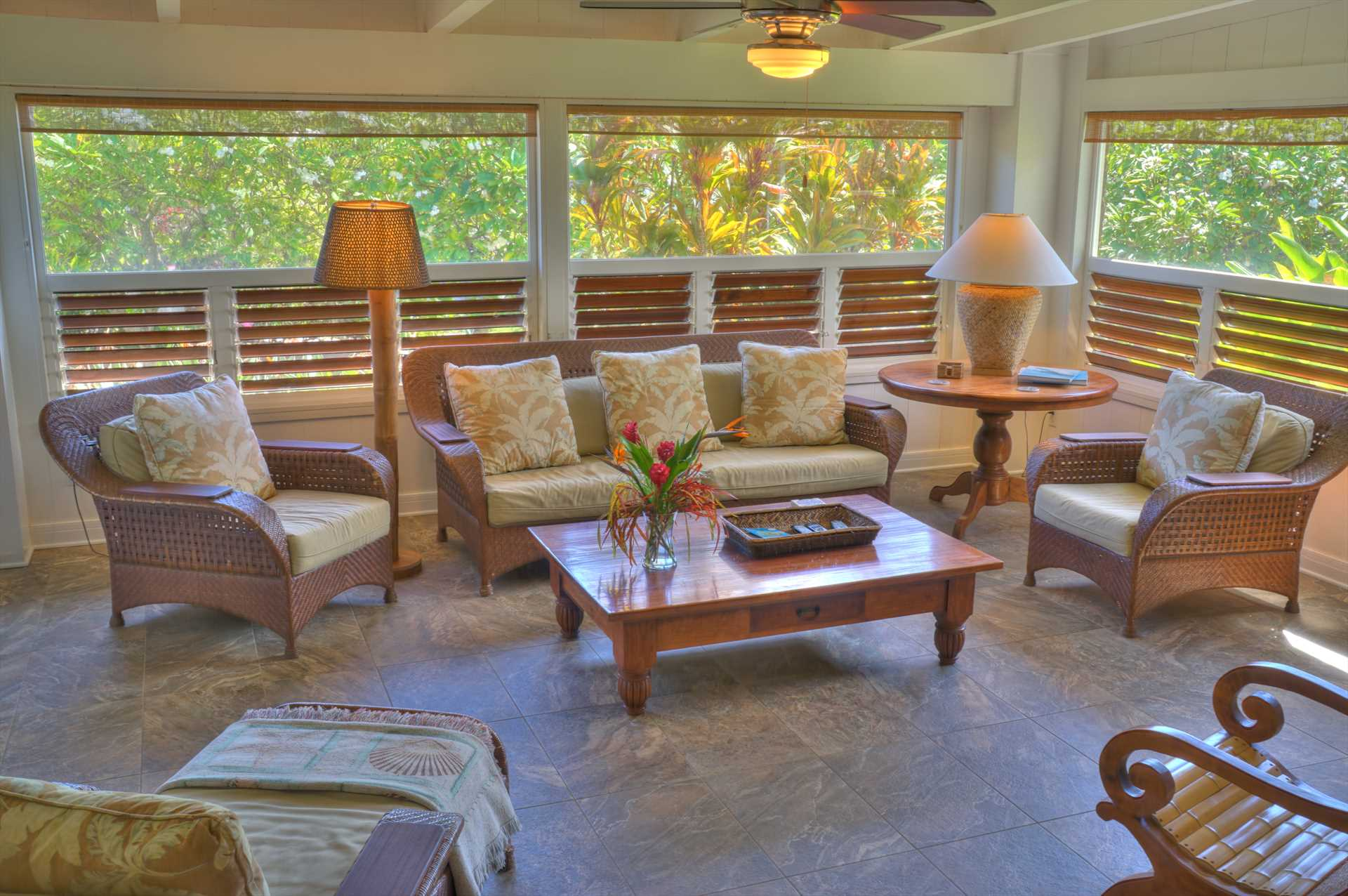 Delightful comfortable living room.  It features a large screen TV, video and book library, and wireless internet
