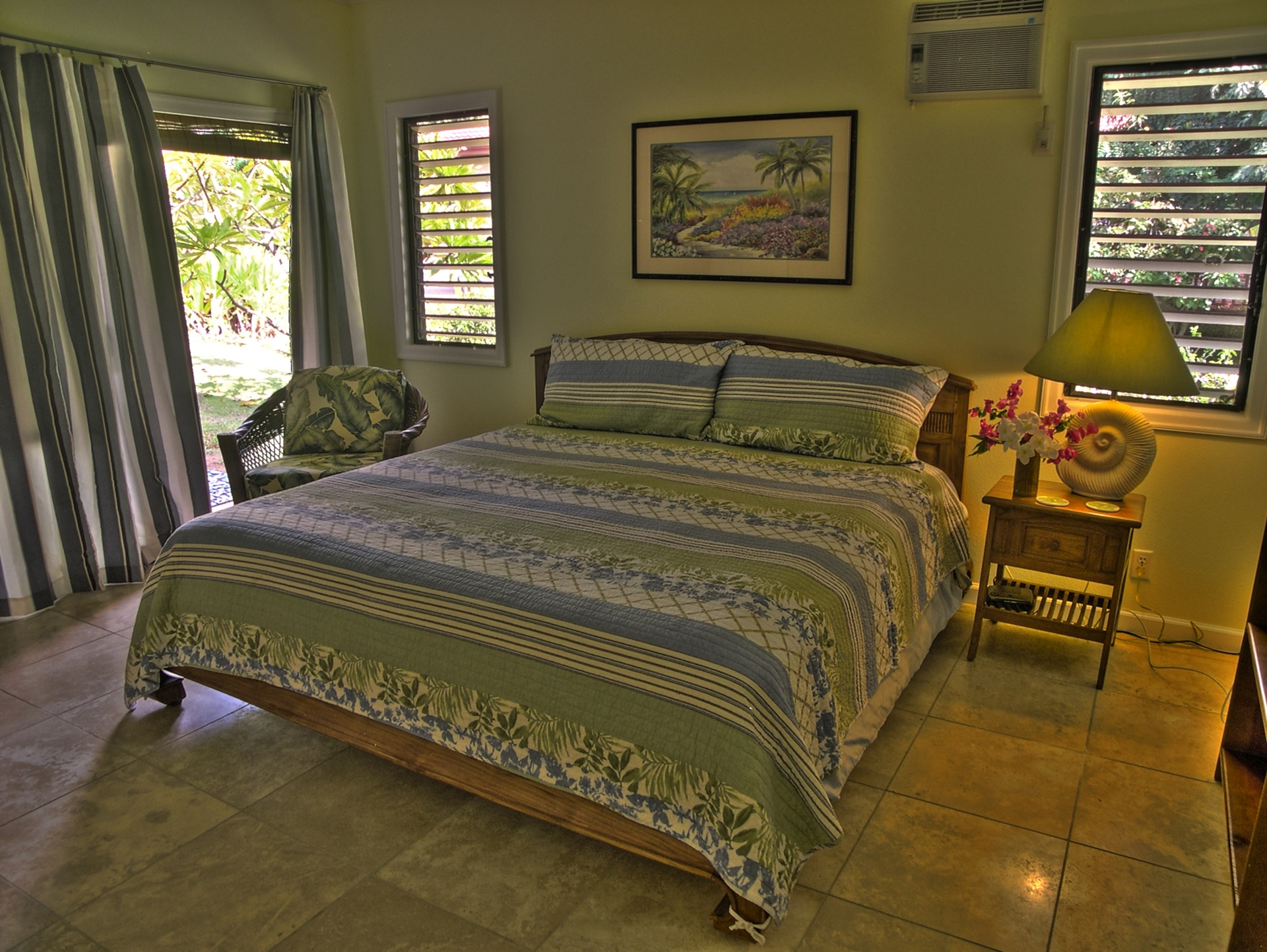 First floor guest bedroom, king bed, shared bath