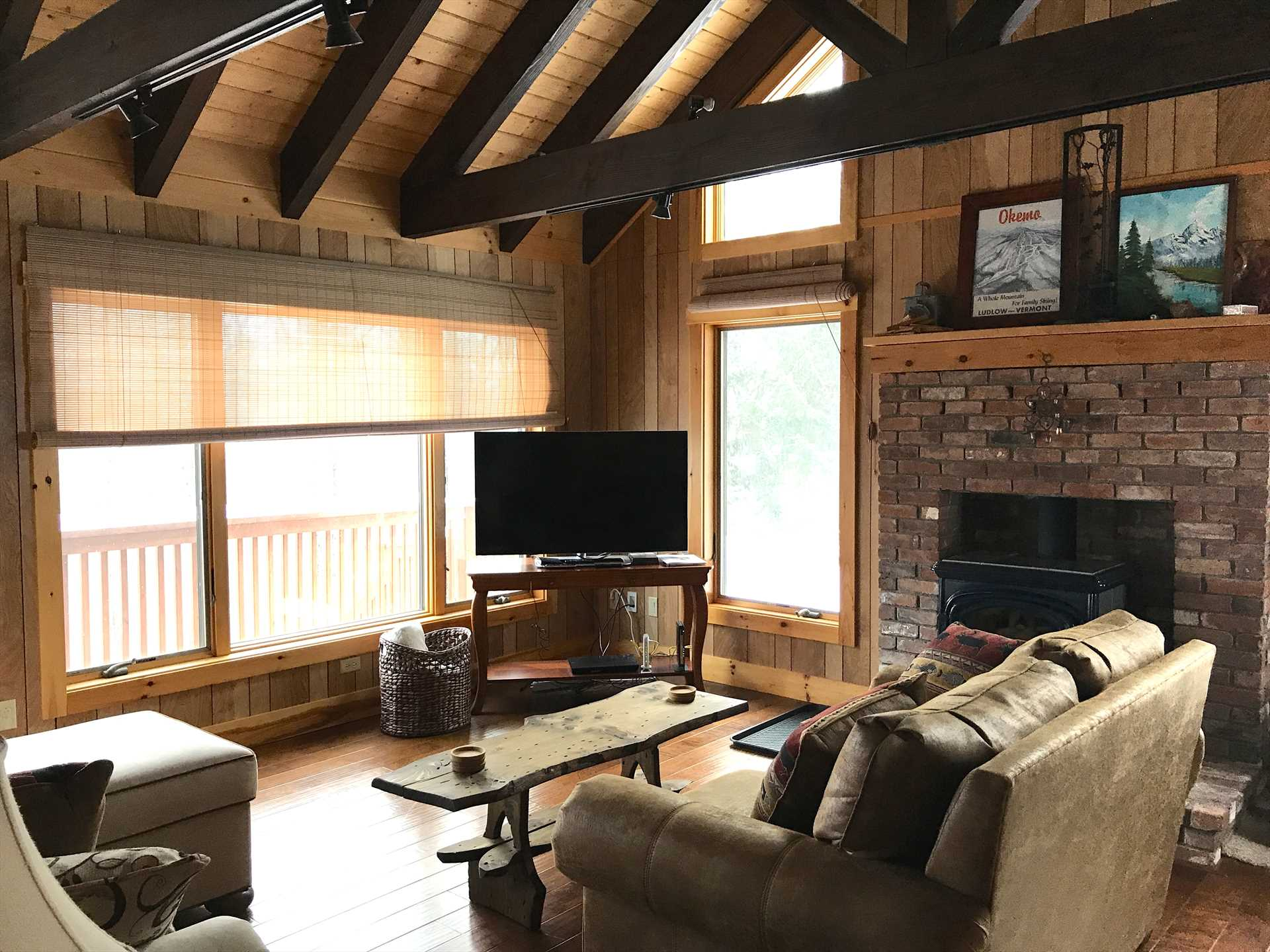 Family Room With Wood Stove