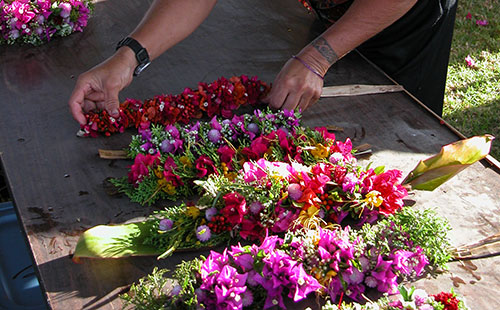 Beautiful leis handcrafted from local flowers