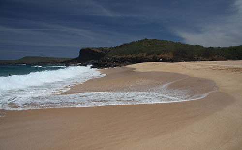 Papohaku beach on the west side of Molokai