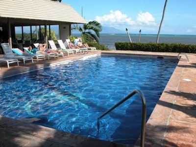 Pool with views of Maui and Lanai
