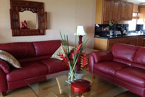 Leather seating in living area
