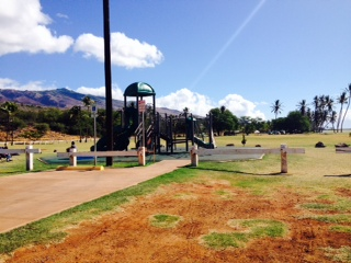 Playground at Oni Alii Beach Park close by