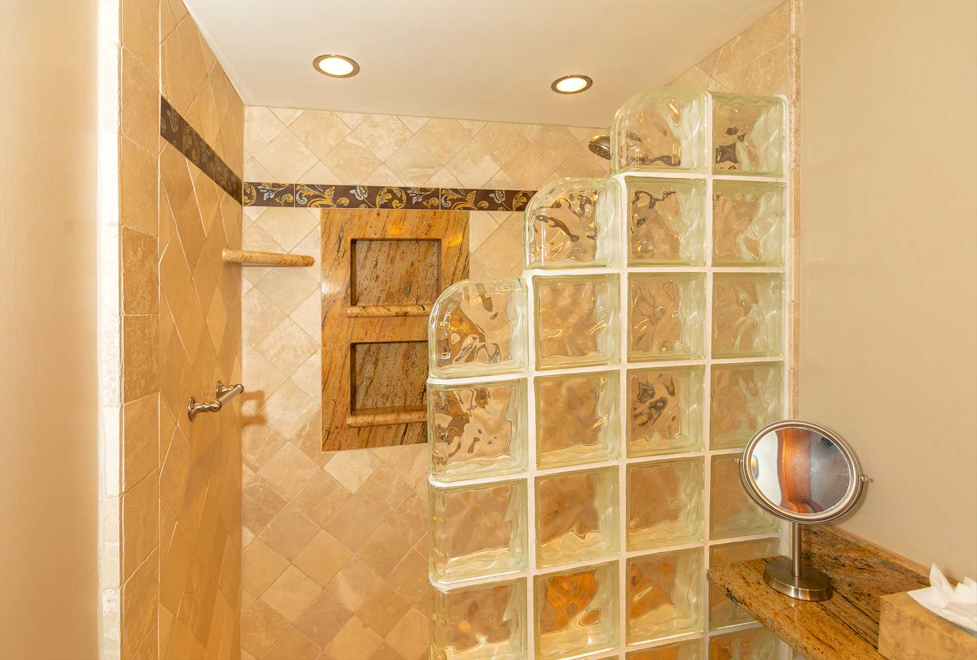 Glass block enclosed step-in shower