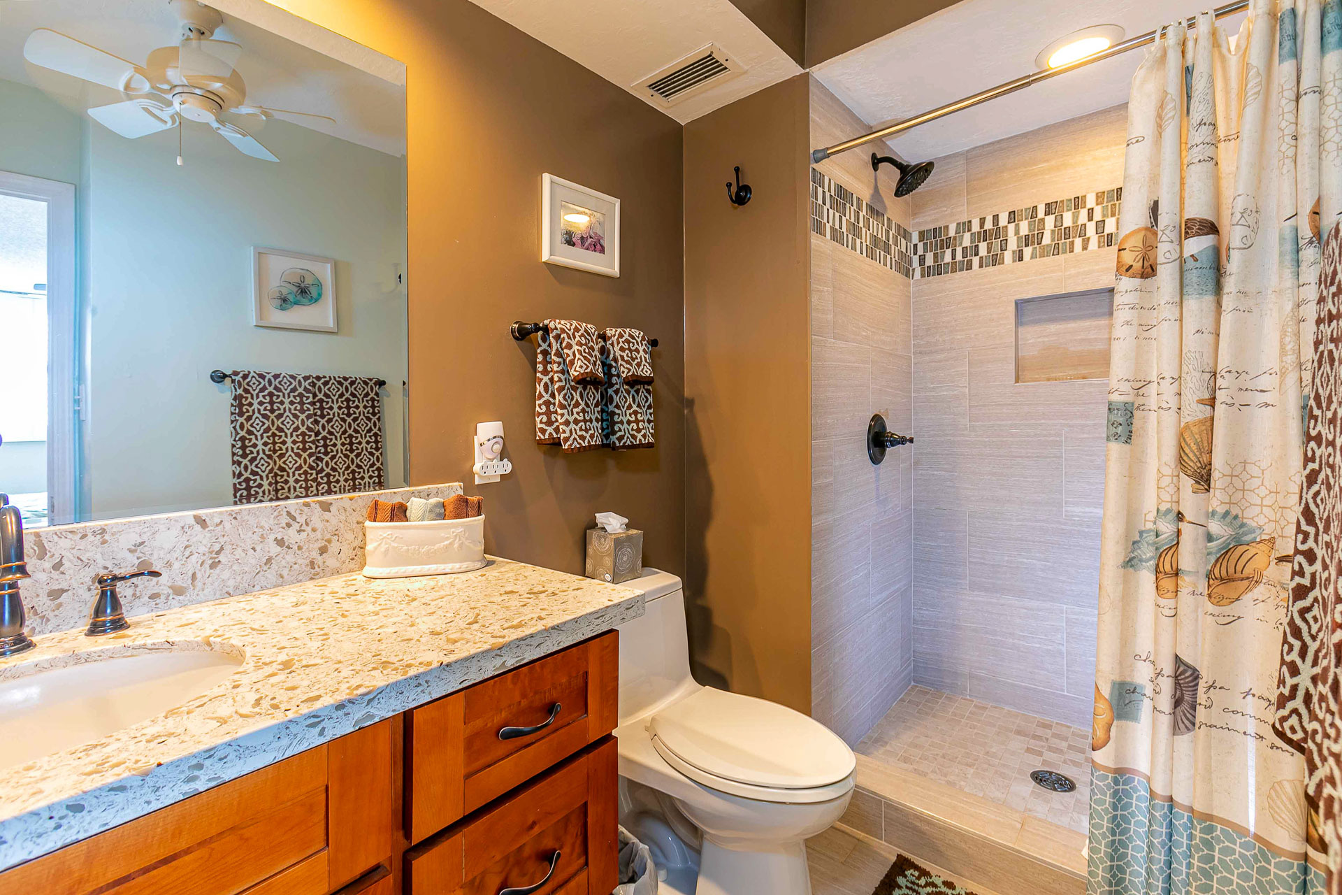 Master suite bathroom. Fully remodeled with walk-in shower and removable shower head