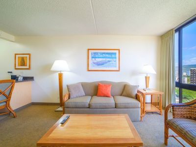 """Relax """"island Style"""" from the comfort of your own spacious Living room in your Hawaii Condo Rental"""