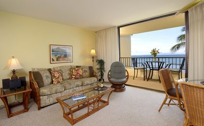 Lovely living room, with great oceanviews...your own maui vacation condo rental
