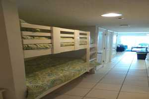 Twin-size, built-in bunk beds in the hall